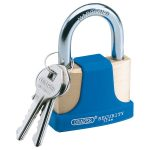 Draper 64166 52mm Solid Brass Padlock and 2 Keys w Hardened Steel Sh…
