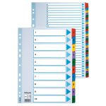 Esselte 100161 Multicoloured Mylar Tabbed A4 Index 1 – 10 160gsm Board