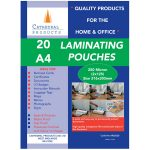 Cathedral Products A425020 A4 Laminating Pouches 250 micron Pack 20