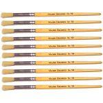 Major Brushes Hog Bristle Short Hand Round Tip Size 12 Pack 10