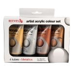 Reeves 75ml Metallic Acrylic Tube Set – Pack of 4