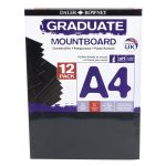 Daler Rowney A4 Graduate Mount Board Pack of 12 Black
