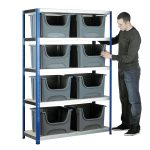 Eco-Rax Space Bin Container Kit Shelving Bay 1800 x 1200 x 450mm +…