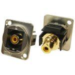 Cliff CP30232M Metal XLR Feedthrough RCA Phono Yellow CSK Hole