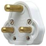 Mk 515Whi Round Pin Mains Plug White 15a