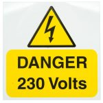 Industrial Signs IS1705RP Danger 230V 75×75 – Pack of 5 Rigid S/a Pvc