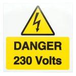 Industrial Signs IS1910SA Danger 230V 75×75 – Pack of 10 S/a Vinyl