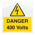 Industrial Signs IS2710SA Danger 400V 75×75 – Pack of 10 S/a Vinyl
