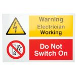 Industrial Signs IS1301RP Warning Electrician Working 150×225 – Pa…