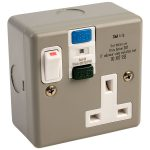 Europa Components RCD13AMC1GS 13A Single Switch Socket RCD Metal Clad