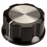 SCI RN-99C(diameter 6.4mm) Control Knob-Black/Silver Cap-White Line-6.4mm …