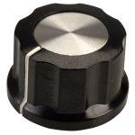 SCI RN-99D(diameter 6.4mm) Control Knob-Black/Silver Cap-White Line-6.4mm …
