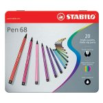 STABILO Pen 68 Premium Fibre Tip Pens Tinned Art Products 20 shades