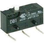 Cherry DB1C-D2AA Microswitch SPDT 6A 250V AC, Button, Right-hand PCB