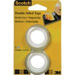3M 6651263 Scotch Double Sided Tape 12mm x 6.3M Pack Of 2