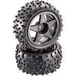 Reely 1:10 Buggy Wheels Black Rims and Off-Road Tyres Set of 2