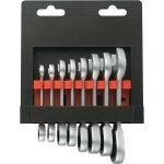 Toolcraft 824125 Fork/Ratchet Short Wrench Set 8-19mm 8pce