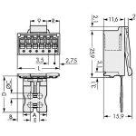 WAGO 2091-1508/002-000 picoMAX 3.5 Male 8P THR Tape Pk100