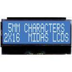 Midas Displays MCCOG21605D6W-BNMLWI COG 2×16 STN White on Blue I2C…
