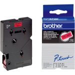Brother TC-401 Black on Red Label Tape 12mm
