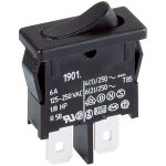 Marquardt 1911.1102 6A Rocker Switch SPST On-Off Faston Black 25mm
