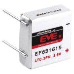 EVE EF651615 LTC-3PN Size 400mAh Lithium Battery Cell 3.6V PCB Pin…