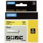 DYMO S0718450 / 18432 Rhino Vinyl Tape ID1 12mm x 5.5m Black on Yellow