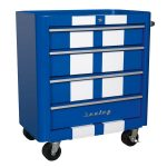 Sealey AP28204BWS Rollcab 4 Drawer Retro Style- Blue with White St…