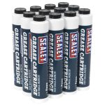 Sealey SCS108 Screw Type EP2 Lithium Grease Cartridge 400g Box of 12
