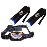 Rolson 61762 2x 9 LED Torch and 3 LED Head Light