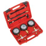Sealey MS100 Motorcycle Compression and Fuel Pressure Gauge Set 3pc