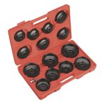 Sealey VS7003 Oil Filter Cap Wrench Set 15pc