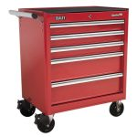 Sealey AP33459 Rollcab 5 Drawer with Ball Bearing Runners – Red