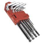 Sealey AK7168 Ball-End Hex Key Set 10pc Long Fully Polished Metric