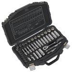 Sealey AK8952 Socket Set 41pc 3/8″Sq Drive 6pt WallDrive Metric