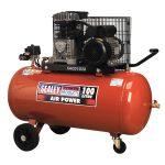 Sealey SAC0102B Compressor 100ltr Belt Drive 2hp with Cast Cylinde…